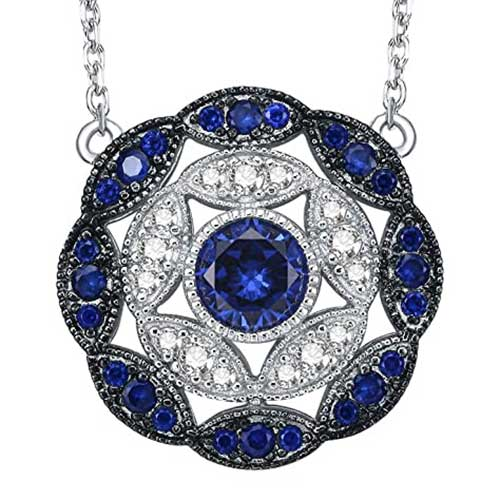Antique Vintage Blue Sapphire Cluster Statement Necklace