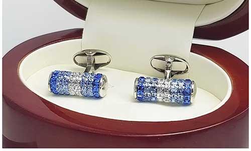 Blue Austrian Crystal Sapphire Cufflinks