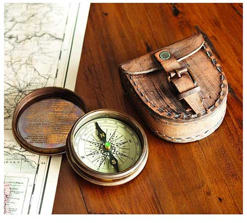 Compass and Leather Case