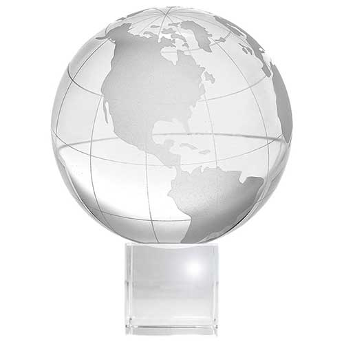 Crystal Globe with Crystal Display Stand