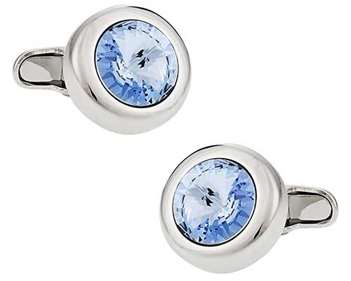 Cuff Daddy Crystal Solitaire Light Blue Sapphire Cufflinks