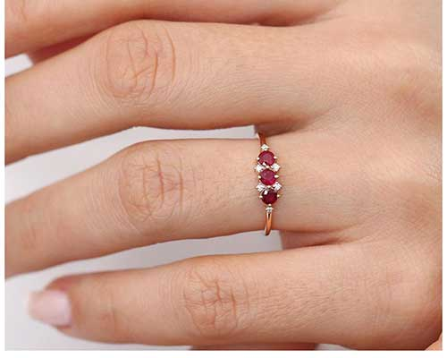 Dainty Ruby and Diamond Ring
