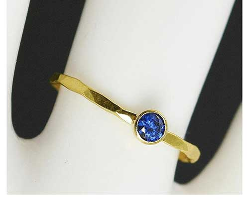Dainty Yellow Gold and Natural Sapphire Ring