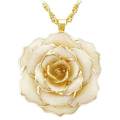 DeFaith Vibrant Real Rose Pendant Necklace 24K Gold Dipped