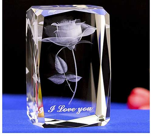 Engraved Laser Crystal Rose Flower Keepsake Paperweight