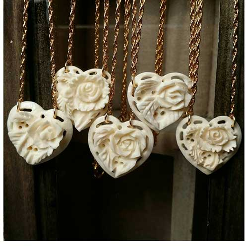 Faux Ivory Heart Rose Pendant
