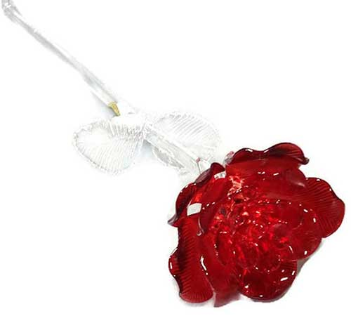 Fleurology Colored Sculpted Glass Red Rose by Waterford Crystal Gifts