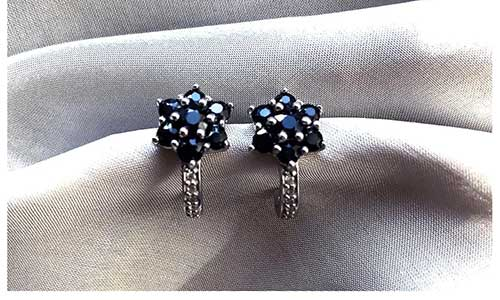 Genuine Blue Sapphire Cluster Flower Stud Earrings