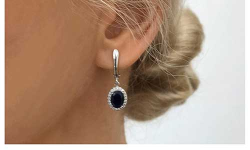 Genuine Blue Sapphire Halo Drop Earrings