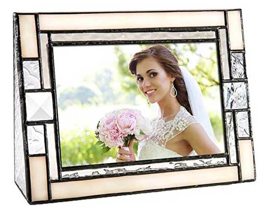 Ivory Opalescent Stained Glass Picture Frame