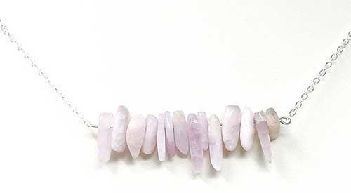 Kunzite Hawaiian Chip Bar Necklace