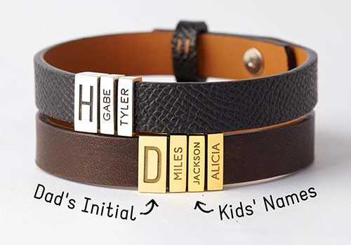 Leather Bracelet Band With Sliding Charms