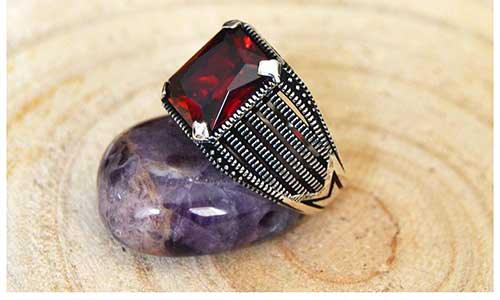 Natural Square Cut Ruby Ring