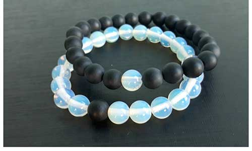 Opal and Onyx His and Her Bracelets