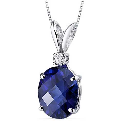Oval Shape Blue Sapphire and Diamond Pendant