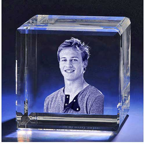 Personalized Laser Etched Photo Crystal Cube