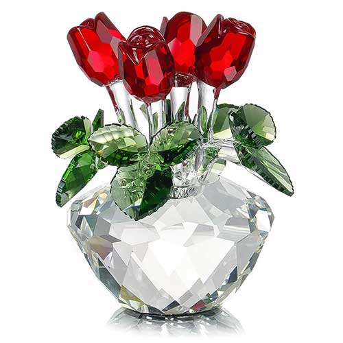 Red Rose Spring Bouquet Crystal Glass Figurine Ornament