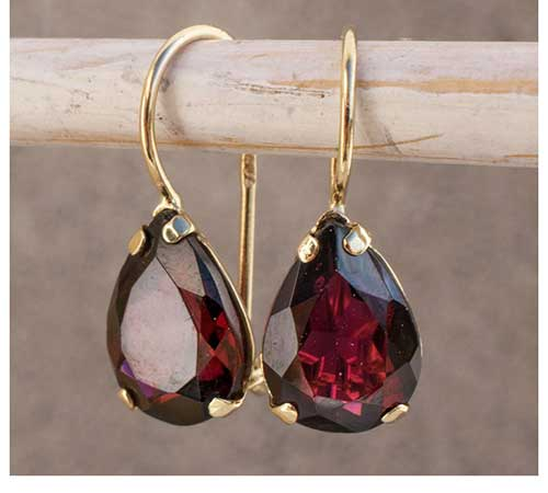Rhodolite Garnet Gold Drop Earrings
