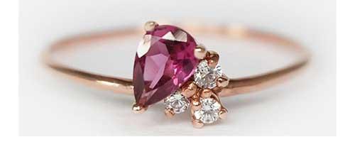 Rhodolite Garnet Teardrop Ring