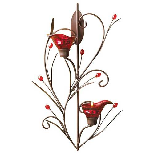 Ruby Blossom Wall Decoration Tealight Holder
