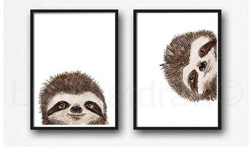 Set of Two Sloth Prints