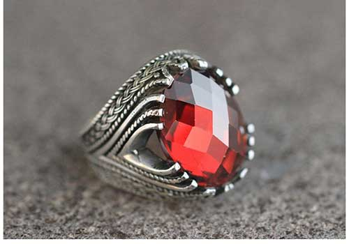 Silver Statement Ruby Ring