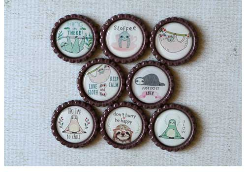 Sloth Bottle Cap Magnets