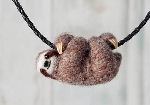 Sloth Stuffed Animal Necklace