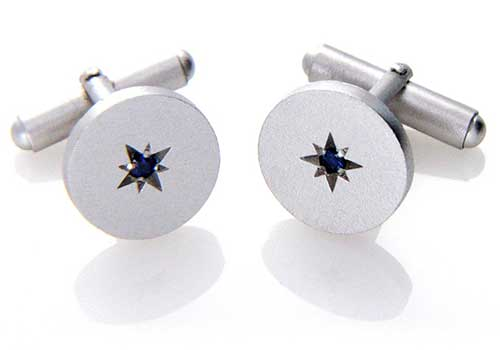Sterling Silver Matte Finish Sapphire Cufflinks