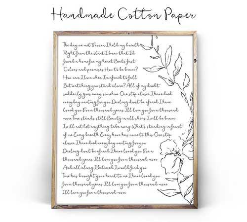 Wedding Vows on Cotton Print