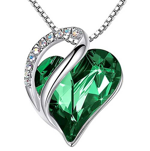 Emerald Green Forever Heart Necklace