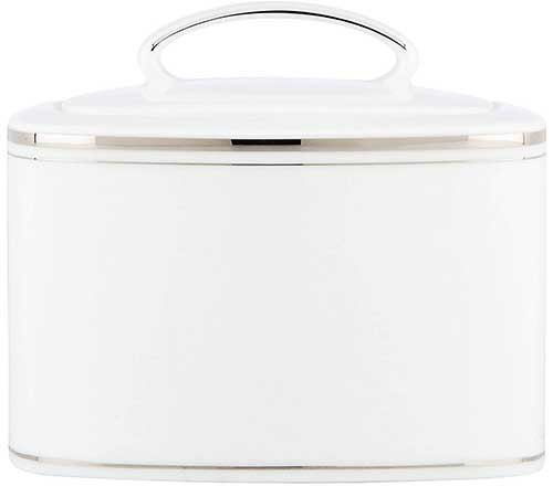 Kate Spade Platinum and Porcelain Sugar Bowl