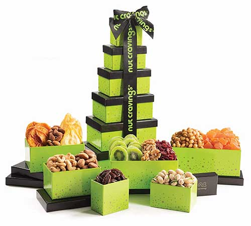 Nut and Dry Green Tower Gift Basket