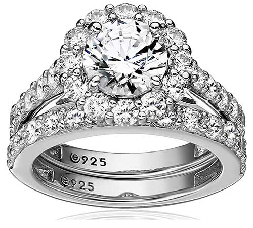 Platinum Plated Cubic Zirconia Ring