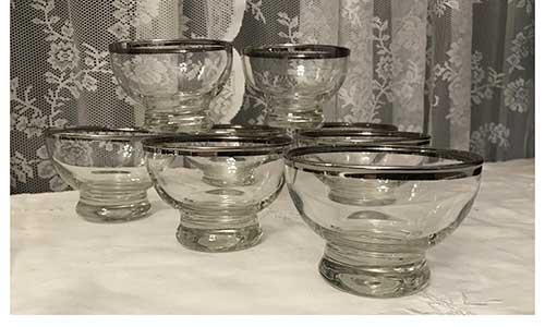 Platinum Rim Dessert Bowls