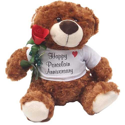 Porcelain Anniversary Teddy Bear