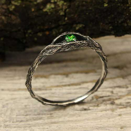 Tiny Branch Emerald Ring