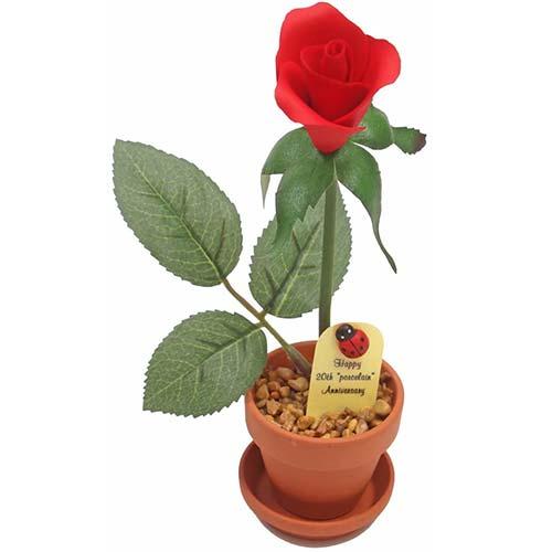 Potted Porcelain Desk Rose