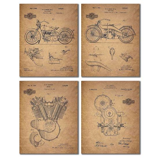 Harley Davidson Patent Prints
